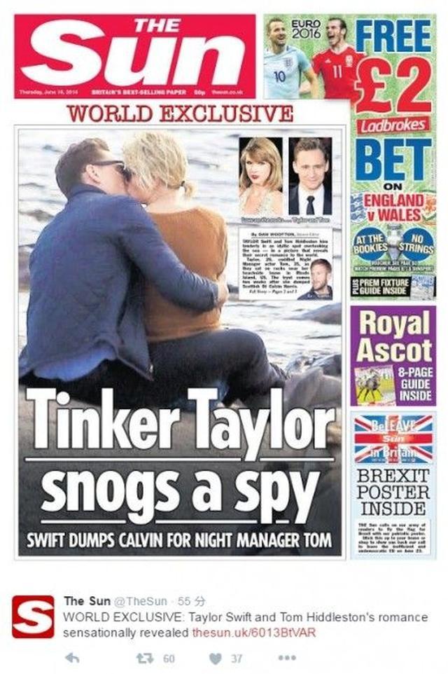 画像: イギリスのタブロイド誌The Sunが公開したテイラーとトムのキス写真。