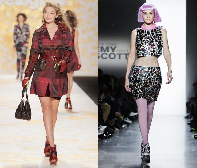 画像: 左:ランウェイ・デビューとなったDesigual(デシグアル)の2014年秋冬コレクション。右は先週行われたばかりのJeremy Scott(ジェレミー・スコット)の2018年秋冬コレクションにて。
