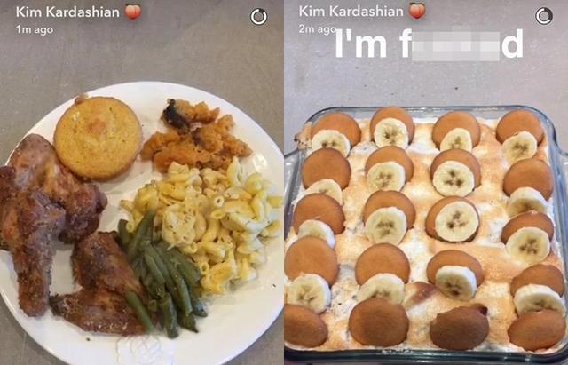画像: 父の日に作った「ソウルフード・プレート」。ソウルフードとは、アメリカ南部のアフリカ系アメリカ人の伝統的な料理。デザートにはクッキーですくって食べるマシュマロ・ディップも。©Kim Kardashian/ Snapchat