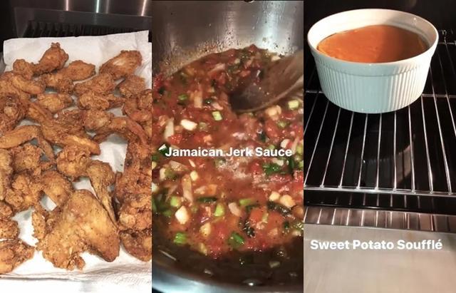 画像: 左から:ジャマイカ風フライドチキン、チキンにかけるサルサ風ソース、サツマイモのスフレ。©Kim Kardashian/ Snapchat