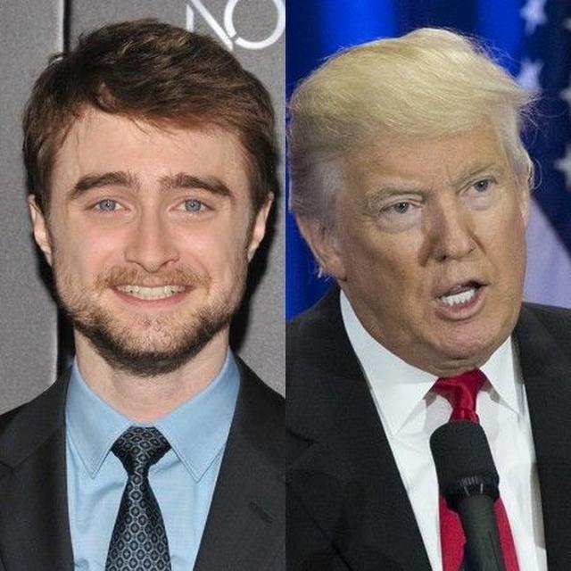 画像: (左)ダニエル・ラドクリフ、(右)ドナルド・トランプ。
