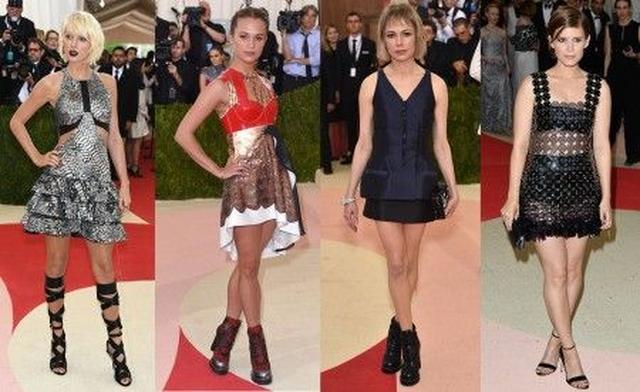 画像: 左から:テイラー・スウィフト<Louis Vuitton>、アリシア・ヴィカンダー <Louis Vuitton>、ミシェル・ウィリアムズ < Louis Vuitton>、ケイト・マーラ<Paco Rabanne>
