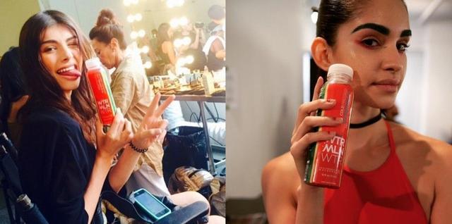 画像: NYファッション・ウィークのバックステージでもモデルたちがウォーターメロン・ウォーターをゴクゴク!