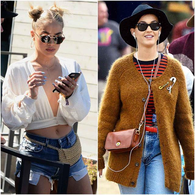 画像: モデルのジャスミン・サンダースはウエストポーチ、ケイティ・ペリーは小さめショルダーバッグを斜めがけして。
