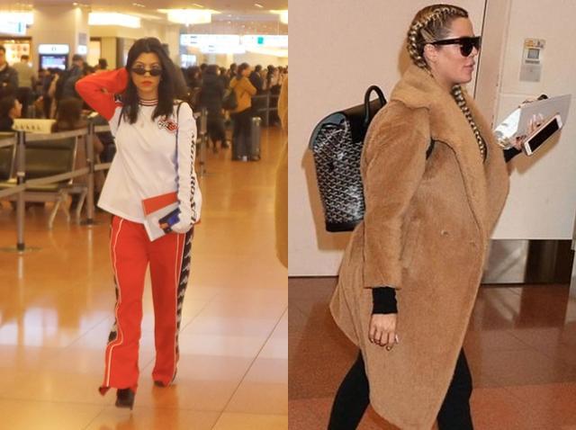 画像: 左:コートニーはスポーティーなジャージルックで。右:妊娠中のクロエはフェイクファーのコートで防寒バッチリ。