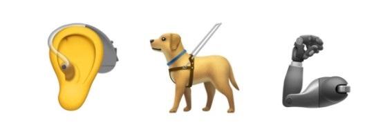 画像: (左から)補聴器をつけた耳、リードを付けたサービス犬、義手。©Twitter/NyleDiMarco