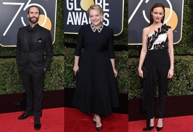 画像: 『ハンドメイズ・テイル/侍女の物語』のメインキャストも「黒ドレス」を着用。 左からジョセフ・ファインズ、エリザベス・モス、アレクシス・ブレデル