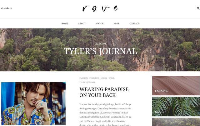 画像: 女友達と2人で立ち上げたローヴ。サイトでしか見られないタイラーの写真も多数。 liverove.com