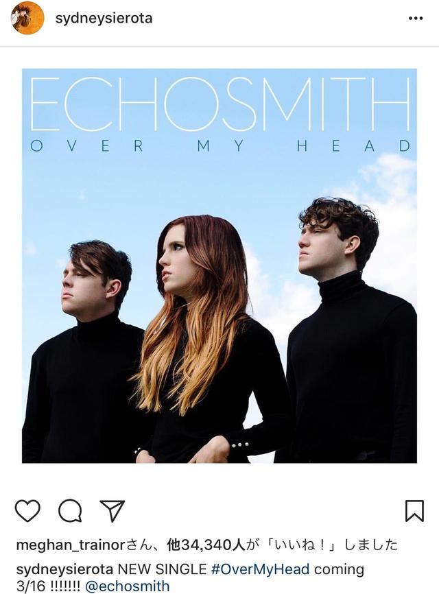 画像: ボーカルのシドニー・シエロタの投稿にメーガン・トレイナーが反応。©Sydney Sierota/Instagram