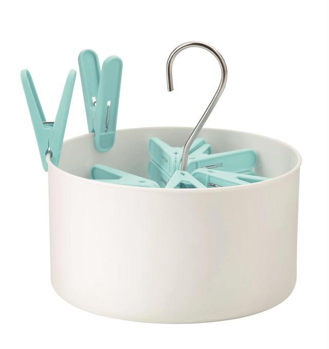 画像: TORKIS 洗濯バサミ用バスケット 洗濯バサミ30個付き, 室内/屋外用 ¥299(旧価格:¥349)