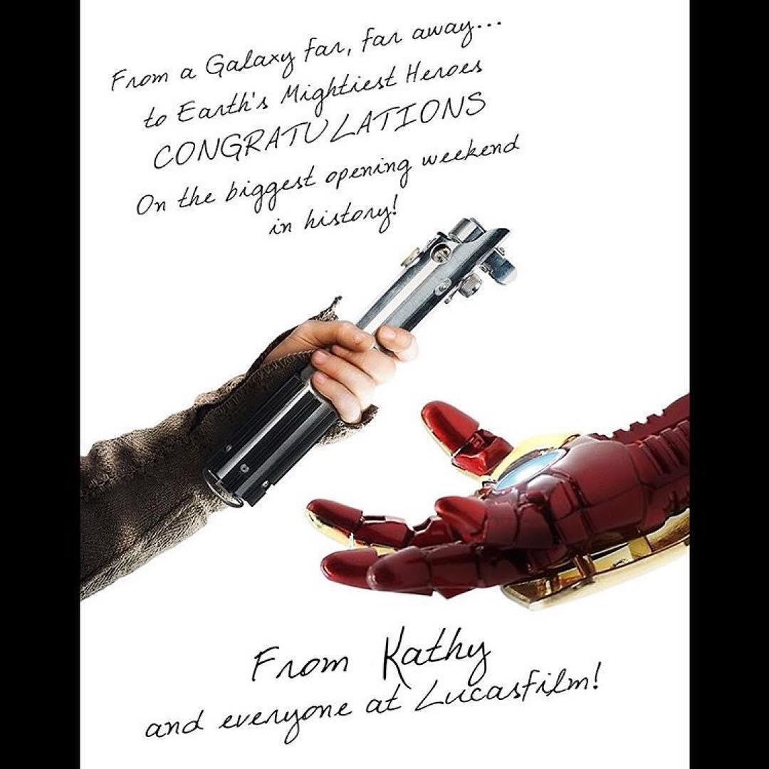 画像1: LucasfilmさんはInstagramを利用しています:「Congratulations, @marvelstudios and @avengers: #InfinityWar」 www.instagram.com