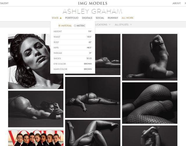 画像: IMGモデルズの公式ページで公開されているアシュリーのボディサイズ。 ©IMG MODELS