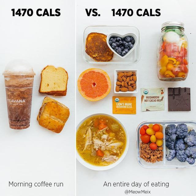 画像1: Amanda MeixnerさんはInstagramを利用しています:「Calorie dense vs. nutrient dense. Which one would you pick?  . While it's great to treat yourself, being aware of how quickly calories can…」 www.instagram.com