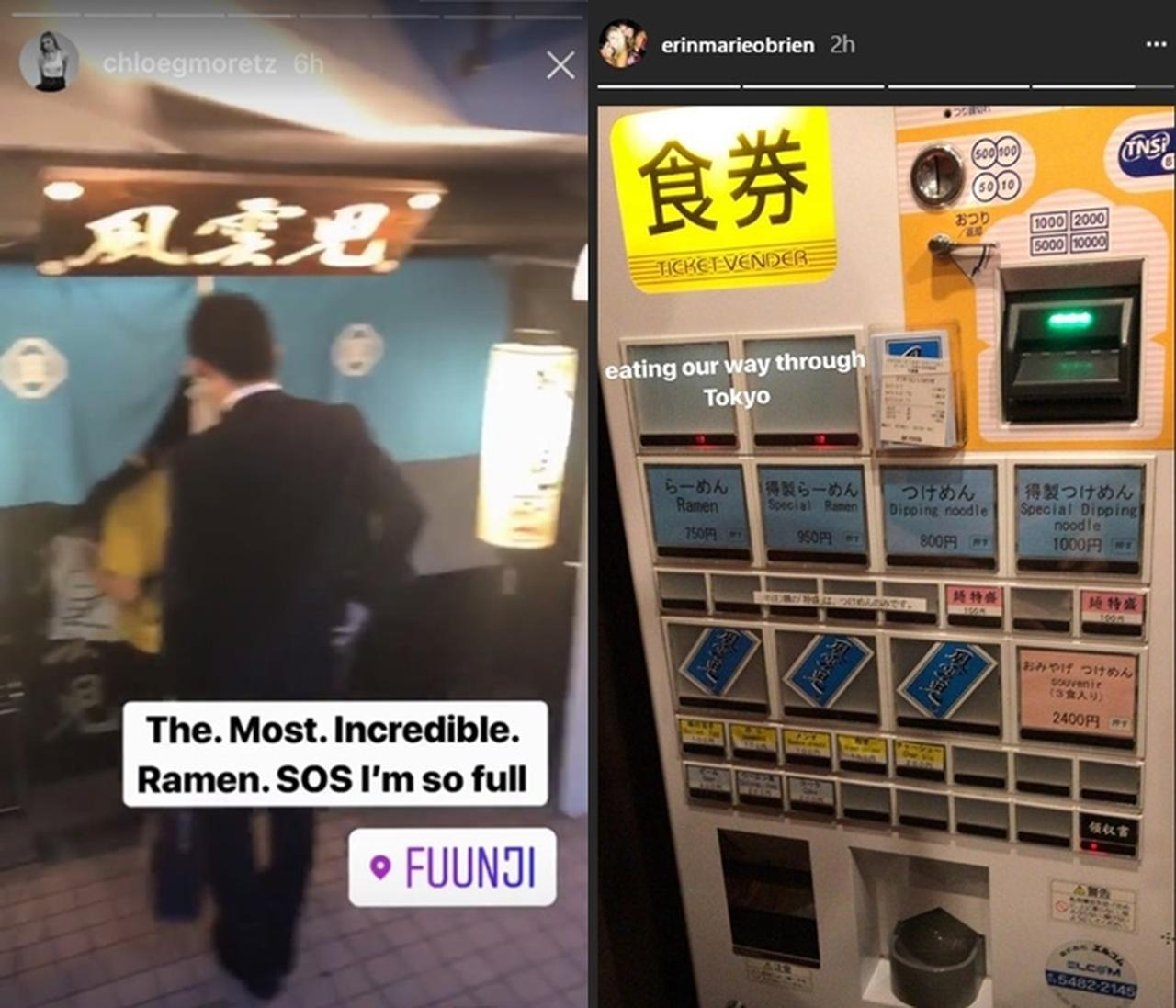 画像: のれんを撮影。食券機にも海外には無いものなので、めずらしかったよう。右写真は同行したスタッフが公開したもの。©Chloe Moretz, Erin Marie Obrien/instagram