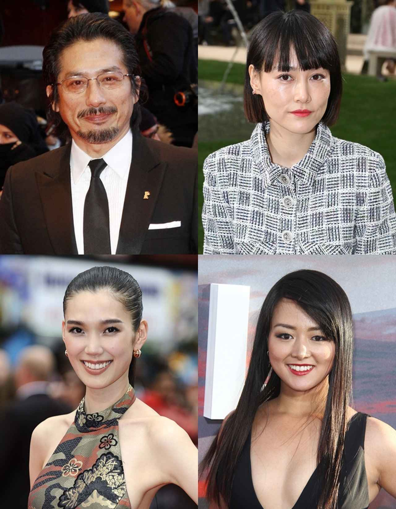 画像: (左上から時計回りで順に)真田広之、菊池凜子、祐真キキ、TAO。
