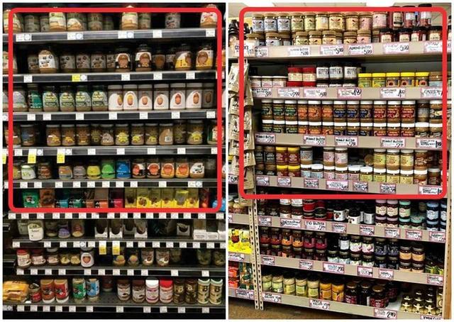 画像: ホールフーズ・マーケット(左)、トレーダー・ジョーズ(右)ではアーモンドバターが棚を占領!