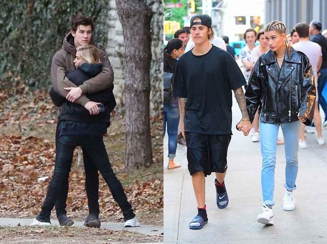 画像: 左の写真は、昨年末にハグしているところを激写された時のヘイリーとショーン。右の写真は、つい最近撮られたヘイリーとジャスティンの手つなぎデート。