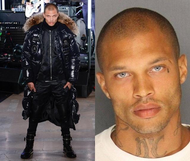 画像: 右が逮捕写真、左が出所後にPhilipp Pleinのランウェイを歩いた時の写真。