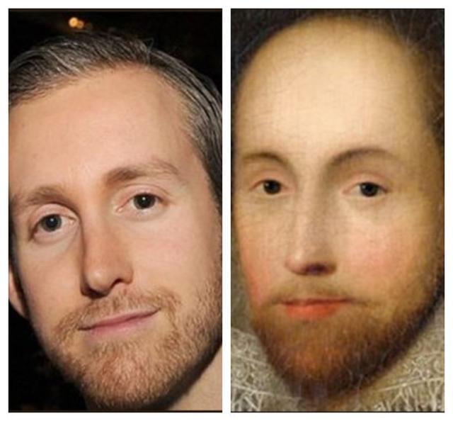 画像: アンの夫アダムとシェイクスピアの肖像画。©PEACHYBLACKG0RL twitter.com
