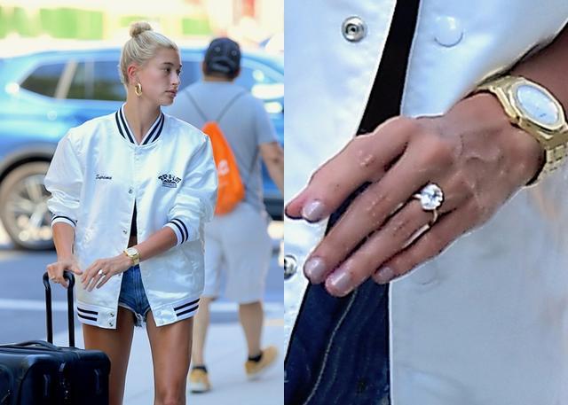画像: ヘイリーの左手薬指に光るジャスティンから贈られた7カラットの巨大ダイヤがついた婚約指輪。