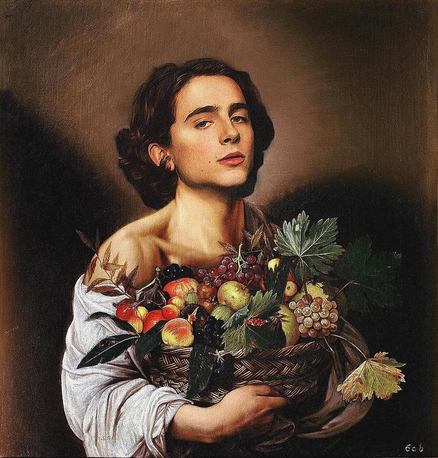 "画像1: badly photoshopped timmy on Instagram: ""Boy with a Basket of Fruit, c.1593, by Michelangelo Merisi da Caravaggio #timotheechalamet #chalametinart"" www.instagram.com"