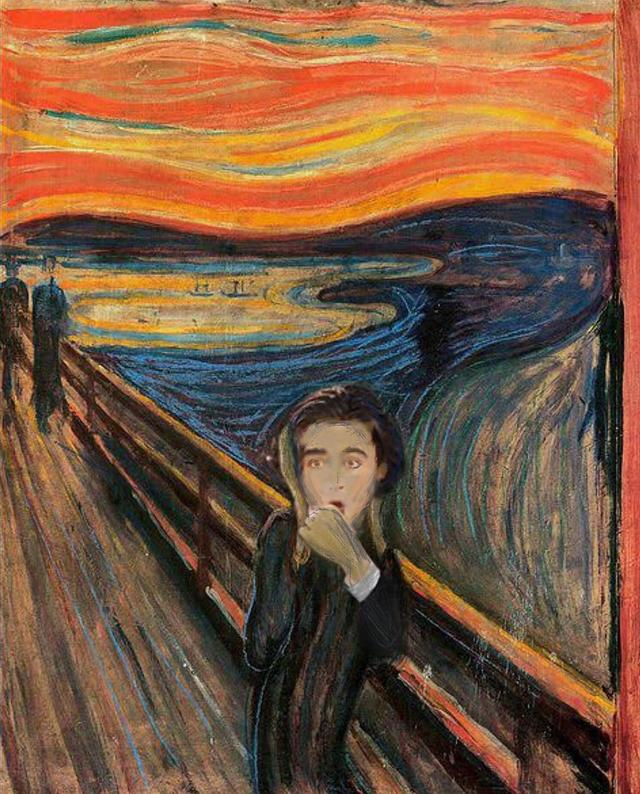 "画像1: badly photoshopped timmy on Instagram: ""The Scream, 1893 by Edvard Munch #chalametinart"" www.instagram.com"