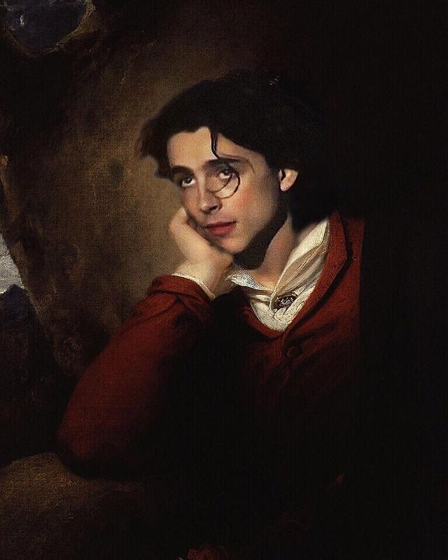 "画像1: badly photoshopped timmy on Instagram: ""George Gordon Byron, 6th Baron Byron, 1813 by Richard Westall #chalametinart #timotheechalamet"" www.instagram.com"