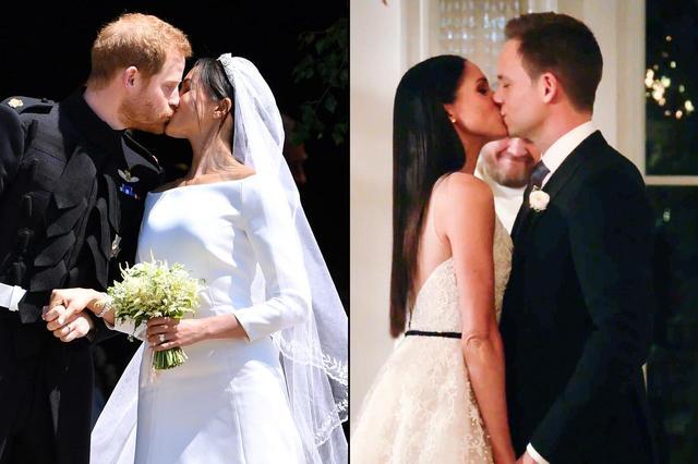 画像: 結婚式でキスを交わすメーガン妃&ヘンリー王子(左の写真)と、ドラマ『SUITS/スーツ』で最終的に結ばれたメーガン演じるレイチェルとパトリック演じるマイク(右の写真)。