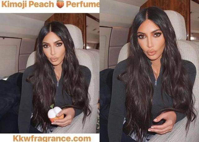 画像: 左:キムが今回公開した写真。右:約1カ月前に投稿された自身のコスメブランドKKWビューティーを使ったリップメイクを紹介する写真。©Kim Kardashian/ KKW Beauty/ Instagram