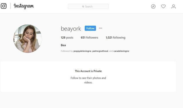 画像: ベアトリス王女のアカウント。フォロワーには、カーリーのほかにも、モデル兼女優のカーラ・デルヴィーニュやヘンリー王子の 元恋人 のチェルシー・デービーなどといった有名人が名を連ねている。©Beayork/ Instagram