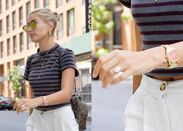 画像: この前日に撮影された写真では、左手薬指に巨大ダイヤの婚約指輪がキラリと光っていた。