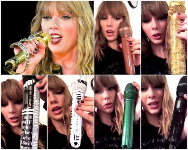 画像: 左から時計まわりに:ヘビ、ローズゴールド、ゴールド、前ツアーからの黒スパンコール、緑ラメ、新聞紙(白)、新聞紙(黒)。©Taylor Swift/Instagram