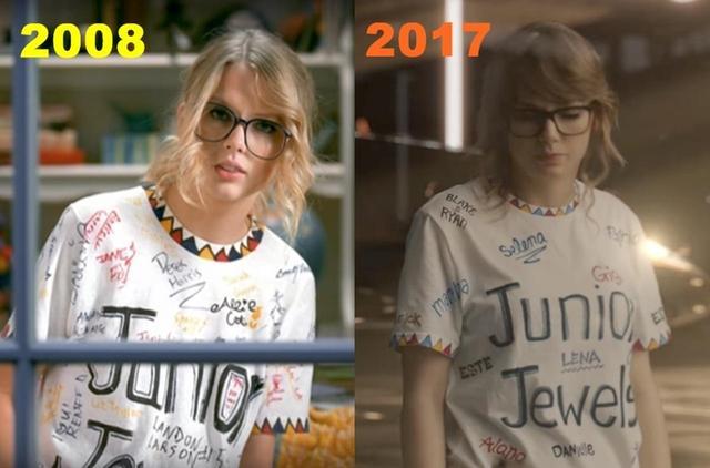 画像: 「LWYMMD」のMV内で2008年のシングル「ユー・ビロング・ウィズ・ミー」のMVで着用した名前入りTシャツを再現したテイラー。テイラーと親しいセレブ友だちの名前がマジックで書かれているなか、そこにカーリーの名前は無かった。
