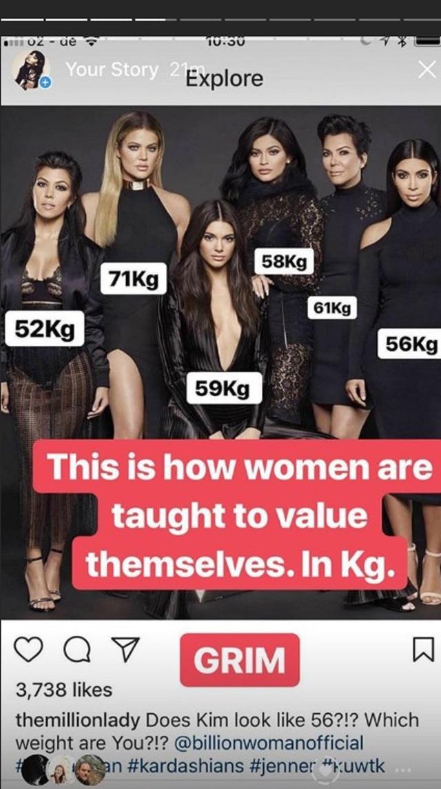 画像: カーダシアン家の女性たちの公称体重をそれぞれの体の上に記載した投稿。左から長女のコートニー・カーダシアン、三女のクロエ・カーダシアン、四女のケンダル・ジェンナー、末娘のカイリー・ジェンナー、母親のクリス・ジェンナー、次女のキム・カーダシアン。©I_Weigh/ Instagram