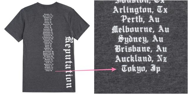 画像: Tokyo, JPの文字が入った、レピュテーション・ツアーTシャツ store.taylorswift.com