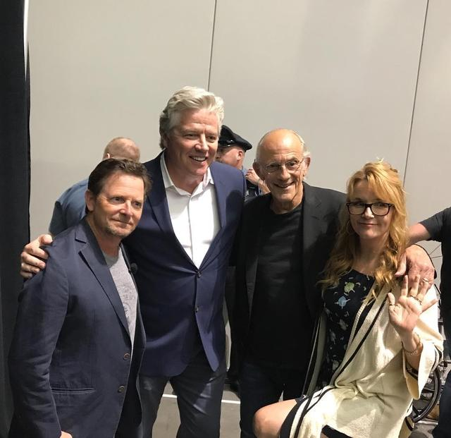 "画像1: Michael J Fox on Instagram: ""Back in 2018, even Biff made it.  @fanexpoboston @lea_thompson @tomwilsonusa #chrislloyd"" www.instagram.com"