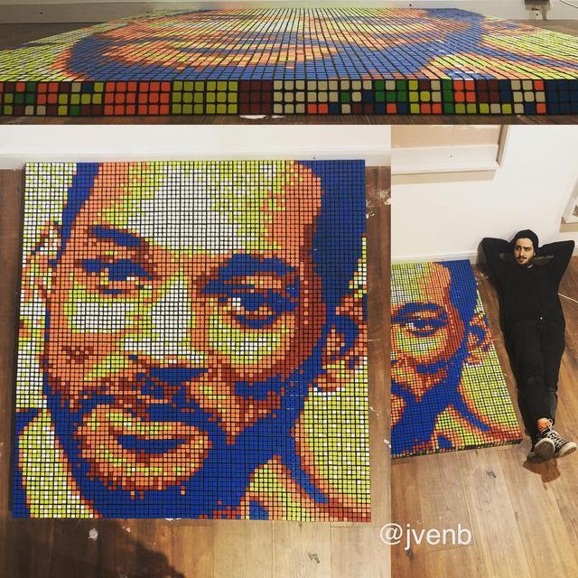 """画像1: Giovanni Contardi on Instagram: """"Will Smith ~ 702 Rubik's cubes  Some things can be hard, but never as hard as trying to look cool next to 700 Rubik's cubes """" www.instagram.com"""