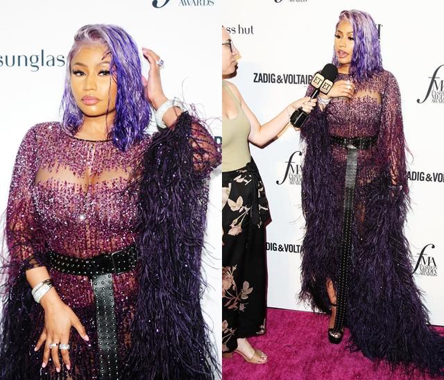 画像: ニューヨーク・ファッションウィーク中に登場したファッション・メディア・アワードのレッドカーペットでET Onlineのインタビューに答えたニッキー。
