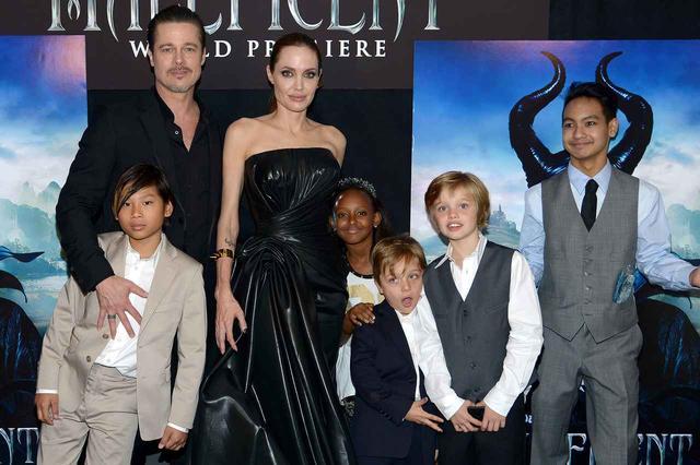 画像: 離婚申請する前の家族写真。左からパックス君、ブラッド、アンジェリーナ、ザハラちゃん、ノックス君、シャイロちゃん、マドックス君。