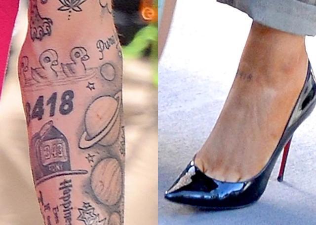 画像: ピートの腕に元々入っていた「8418」のタトゥーを婚約後、アリアナがマネして足首に入れた。