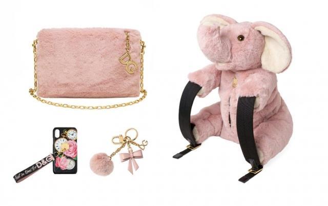 画像: (C)Dolce&Gabbana (左上)ミニバッグ「クレオ」¥139,000 (下左) iPhoneケース ¥79,000 (下右) キーチャーム ¥47,000 (右)エレファントバックパック ¥145,000