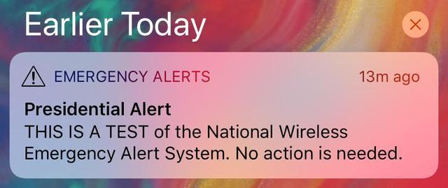 画像: 全米に届いた「大統領警報」
