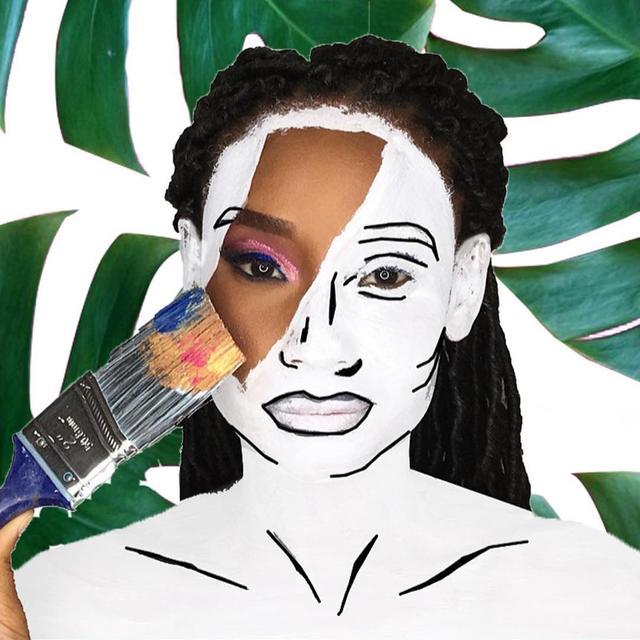 """画像1: Onika Edwards on Instagram: """"Another twist on my Blank Canvas series with drawing/ sketching included. • Model: @a.splash.of.pink Makeup: @oebeauty : @onikaedwards • .…"""" www.instagram.com"""