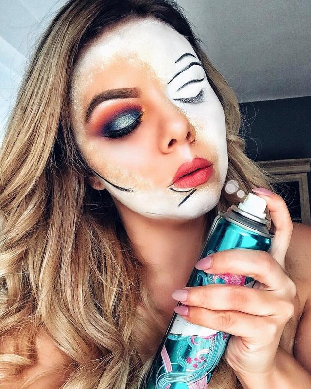 "画像1: Oana Zidaru on Instagram: ""This week's creative makeup: #blankcanvas Inspired by @orlaynanicole Daca machiajul s-ar aplica direct din spray ☺️ EYES: Boys'n Berries…"" www.instagram.com"