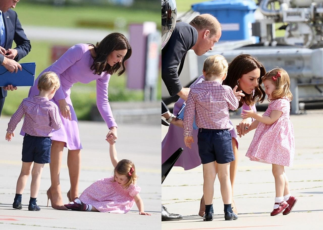 画像: 公務中にぐずるシャーロット王女に手を焼くキャサリン妃。