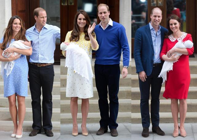 画像: (左から)ジョージ王子、シャーロット王女、ルイ王子が誕生した時のキャサリン妃とウィリアム王子。