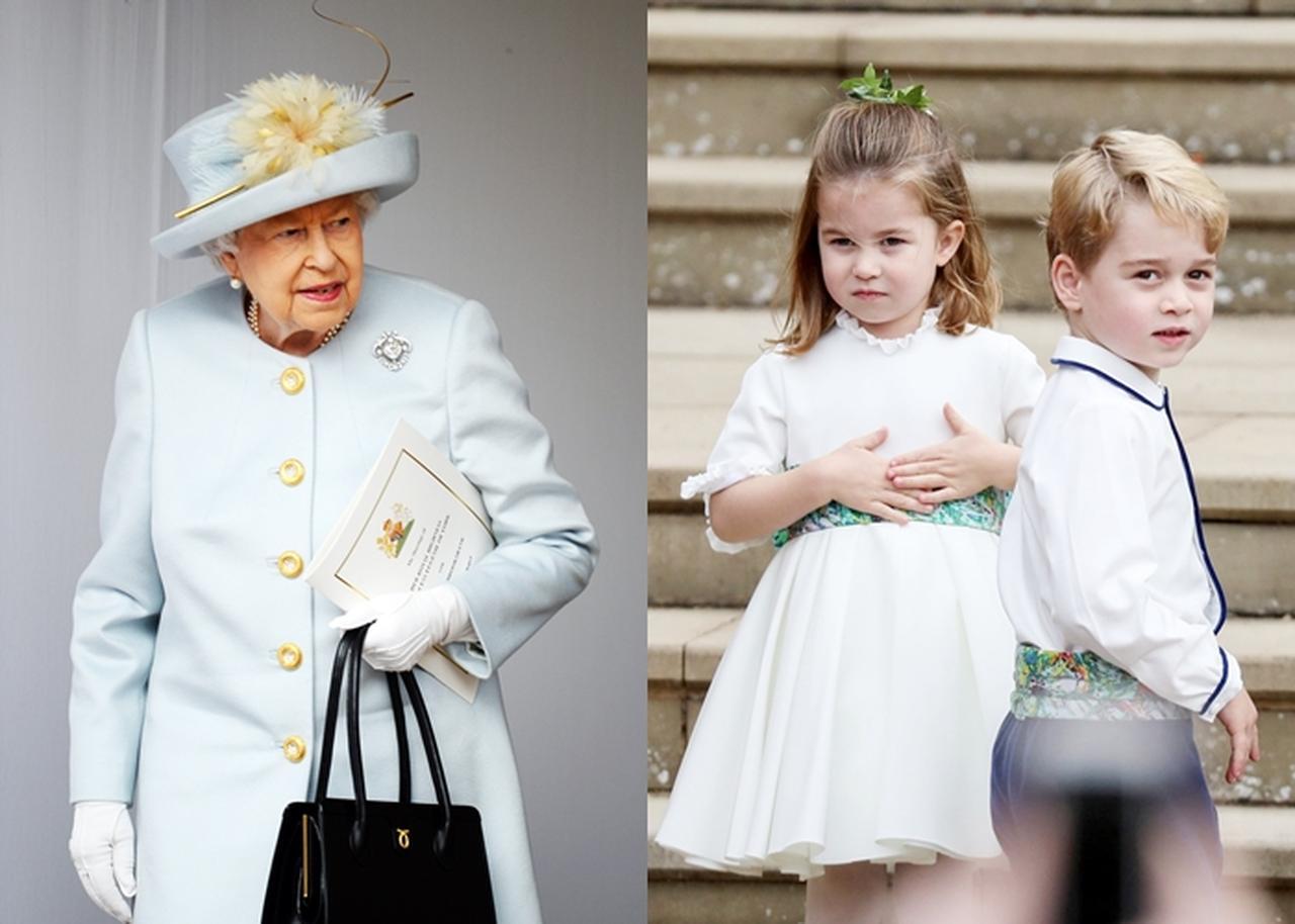 画像: 左:エリザベス女王&フィリップ王子、右:フラワーガールとページボーイを務めたシャーロット王女&ジョージ王子。