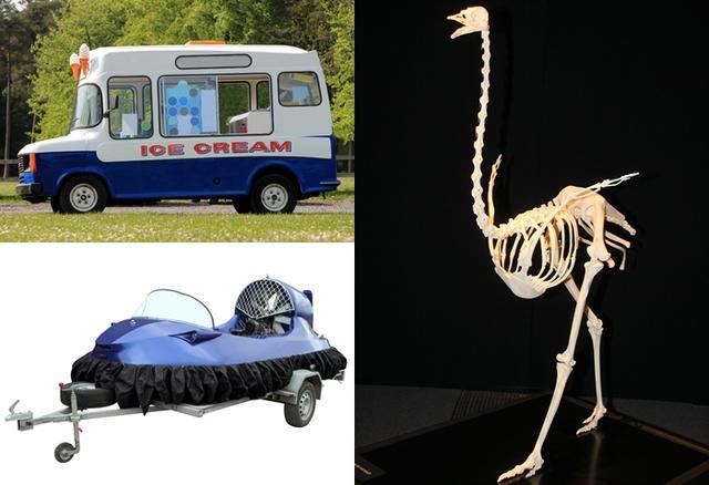 画像: 左上:アイスクリームトラック、左下:ホバークラフト、右:ダチョウの骨格標本(すべてイメージ画像)