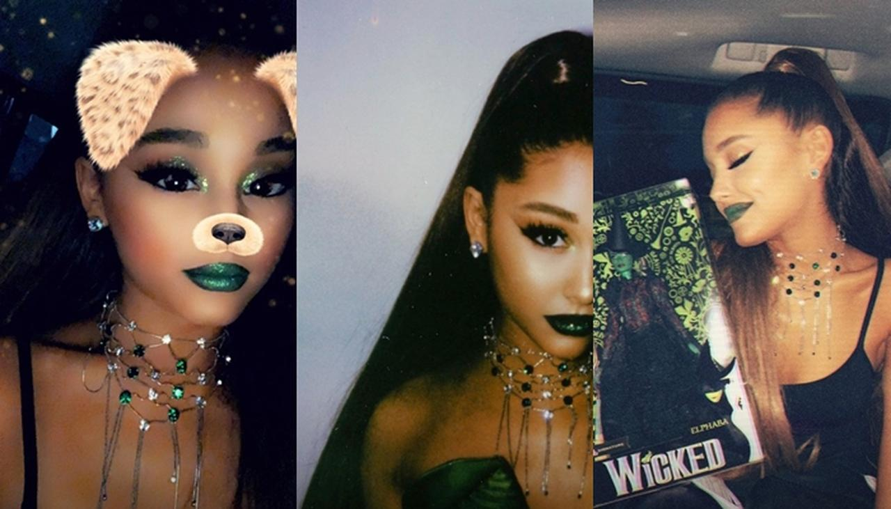 画像: 自身が歌った緑色の肌をもつ魔女エルファバの楽曲にちなみグリーンリップ&ジュエリーを着けて番組に登場したアリアナ。エルファバをモデルにしたバービー人形を贈られ嬉しそうな表情を見せていた。©Ariana Grande/ Instagram