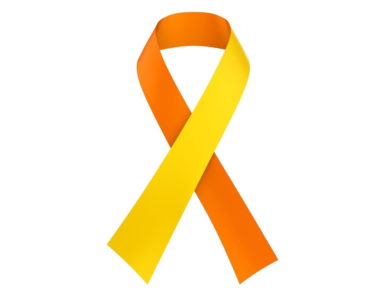 画像: 東京、アメリカ、イギリスなど世界各地で9月を自殺予防月間としている。黄色とオレンジ色のリボンは、10日の世界自殺予防デーを表わす色。
